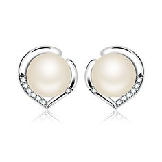 J.Rosee Earrings Sterling Silver Freshwater Cultured Pearl Earrings Heart Button Studs, White *** You can find out more details at the link of the image.