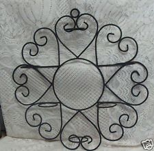 BLACK WROUGHT IRON SCROLL WALL PLANT HOLDER 6 POT RINGS 17 1/2'' W X 18 1/4'' L