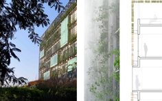 Using a double skin facade, RMA Architects creates a visually striking and energy saving performance feature to this office building.  Hydroponic trays and a misting system are integrated into the facade to enhance the growth of plant species.
