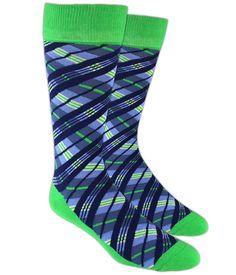 Blue and green plaid men's socks