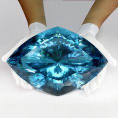;^) World's Rarest & Largest Collector's Gem - A 26100 ct Super Swiss Blue Topaz -