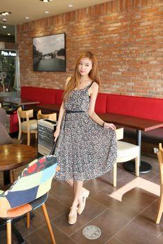 kpopsicle.com #fashion #style #kpop Floral Smocked Chiffon Tank Dress - Dresses - Apparel - Genuine Korean style fashion from Korea