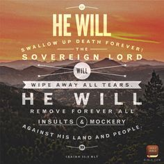 He will swallow up death forever. Our sovereign Lord will wipe away all tears.