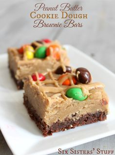 Combine all of your favorite treats in this recipe for Peanut Butter Cookie Dough Brownie Bars with M&M'S!