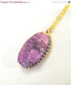 SALE SALE Purple Druzy and crystal pendant by YaronaJewelryDesign, $42.63