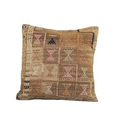 Vintage Cream and Navy Kilim Pillow on Chairish.com