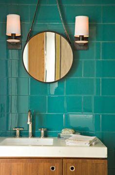 Love the bold tile in the bathroom