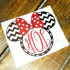 Minnie Mouse chevron monogram Decal Disney laptop by DreamThread