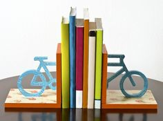 Crackled floral bicycle DIY bookends