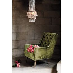 Anthropologie Slub Velvet Booker Armchair ($1,248) via Polyvore featuring home, furniture, chairs, accent chairs, chair, chartreuse, tufted accent chair, nailhead chair, tufted furniture and nail head chair