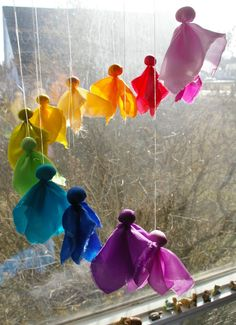 "Waldorf Inspired Silk Fairy Mobile (Tutorial and Link to DIY Kit) - from Beneath the Rowan Tree ("",)"
