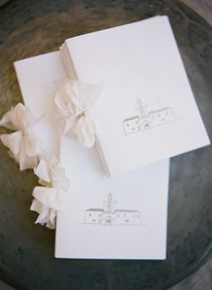 Gorgeous ceremony programs printed with a hand drawing of the church.