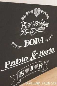 Decoracion en madera para bodas y para niños: PIZARRA DE BIENVENIDA: BODA PABLO Y MARÍA