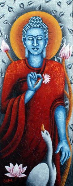 "Saatchi Art Artist Chitra Singh; Painting, ""Lord Buddha"" #art"