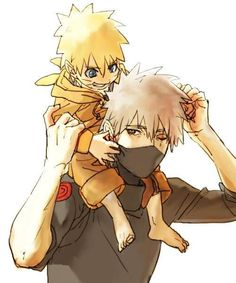 Naruto and Kakashi this is such a sight to behold and it's so darn freaking cute