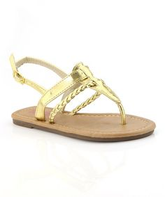 Gold Braided T-Strap Sandal by Bella Marie #zulily #zulilyfinds