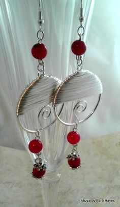 'Wire Wrapped Dangle Earrings' is going up for auction at  5pm Wed, Mar 20 with a starting bid of $10.