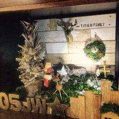 【クリスマスディスプレイ】手作りツリーと箱庭風。