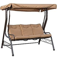 PatioPost Outdoor Swing Chair, Seats 3 Porch Patio Padded Swing Hammock Glider with Steel Powder Coated Frame, Brown