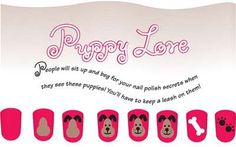 Puppy Love kid's nail art design