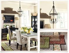 I love the casual feel to this dining room. I think this look would really suit your crew...the simple buffet with the framed chalk board over it, two casual lamps on buffet, etc.