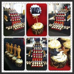 """Hollywood Theme Wedding Shower. """"And the Academy Award goes to?"""" """"Lights, Camera, Action!"""" (Oscar, Photo, & Star cupcakes with a red carpet stand)"""