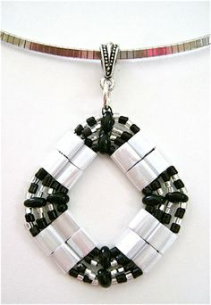 white-tila-and-ebony-bead-pendant