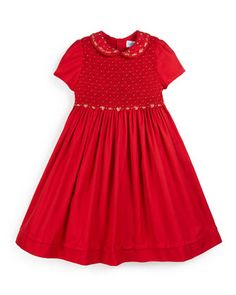 Viella+Short-Sleeve+Embroidered+A-Line+Dress,+Red,+Size+2-6+by+Luli+&+Me+at+Neiman+Marcus.