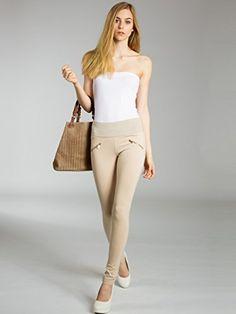4251085266744   #CASPAR #HLE008 #Damen #Stretch #Leggings #, #Farbe:beige;Größe:34 #XS #UK6 #US4
