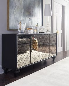 Shop Libby Mirrored Sideboard from Hooker Furniture at Horchow, where you'll find new lower shipping on hundreds of home furnishings and gifts. Modern Wooden Furniture, Entry Furniture, Outdoor Dining Furniture, Mirrored Furniture, Hooker Furniture, Apartment Furniture, Furniture Makeover, Furniture Decor, Sideboard Furniture