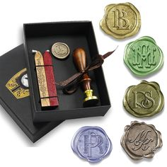 Make an impression with this deeply Engraved Deluxe Wax Seal Stamp with your choice of 3 Intertwined Monogram layouts, hand engraved and custom made to order. Classically Gift Boxed with Red and Gold Sealing Wax.