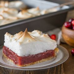 Finding the perfect balance of sweet and tart flavors, this dessert uses cranberry sauce in the filling and a creamy meringue topping to provide a refreshing finish to any holiday meal. Photo credit: Julie Gransee from Lovely Little Kitchen.