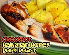 Crockpot Hawaiian Honey Pork Roast--You WON'T believe that this delicious roast came from a crockpot. Crock Pot Food, Crock Pot Slow Cooker, Slow Cooker Recipes, Crockpot Recipes, Cooking Recipes, Pork Recipes, Mexican Food Recipes, Recipies, Pork Roast