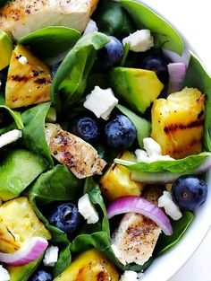Grilled Pineapple, Chicken & Avocado Salad -- leave the pineapple plain, or pop it on the grill or (indoor) grill pan, and this delicious salad is great year-round!