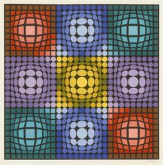 """Dyevat"" by Victor Vasarely, 1987 Serigraph, signed and numbered in pencil; limited edition of 300; 40 x 40 inches"