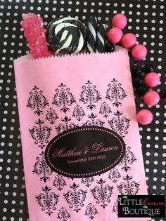 Wedding Candy Bags Damask Favor bags Pink by LittlebeaneBoutique, $21.95