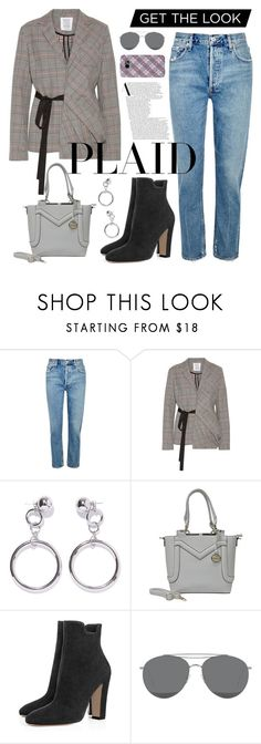 """""""Plaid Time"""" by sunny-chen-2 ❤ liked on Polyvore featuring AGOLDE, Rosie Assoulin, Ana Accessories, Gentle Monster and Samsung"""
