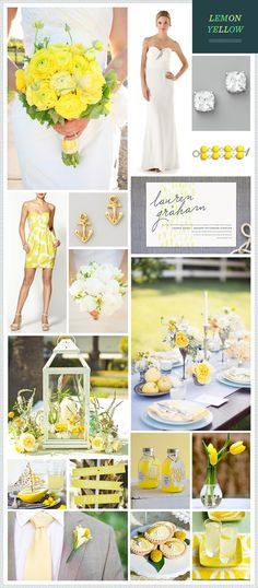 love the blue and yellow together. Great Idea. Lemon Yellow Wedding Inspiration