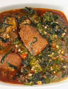 Okro soup, Okra soup, Lady's finger or gumbo.mucilaginous in a good way, cheap, fresh. one of Nigeria's national dishes. Okra Recipes, Cooking Recipes, Gumbo, Nigerian Soup Recipe, Nigerian Food Recipes, Okra Soup Recipe, Ghanaian Food, Nigeria Food, West African Food