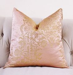 Gold Brocade Pillow Cover Designer Blush Pink and by MotifPillows