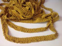 "Vintage trim, loop fringe, 268"" or 594"", mustard yellow by Mywaycrochet on Etsy"