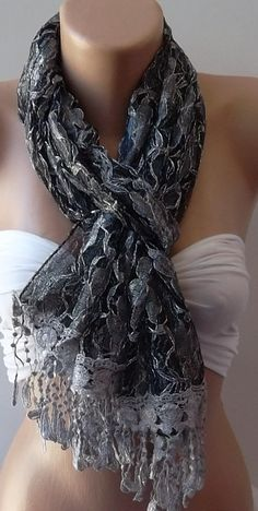 Grey   Elegance  Shawl / Scarf with Lacy Edge by womann on Etsy, $14.50