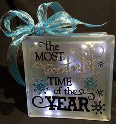 Holiday Decor Handmade Glass Block Light or by LiveLaughLoveOcean