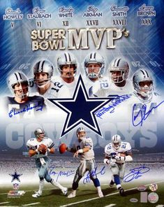 Emmitt Smith, Troy Aikman, Roger Staubach, Larry Brown, Chuck Howley & Randy White Dallas Cowboys NFL Hand Signed Autographed Photograph Super B The Dallas Cowboys History, Cowboy History, Dallas Cowboys Funny, Dallas Cowboys Wallpaper, Dallas Cowboys Players, Dallas Cowboys Pictures, Cowboys 4, Cowboys Helmet, Dodgers
