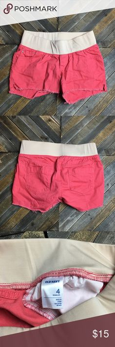 Salmon maternity frayed bottom shorts These maternity shorts are super comfortable and have an elastic waistband all the way around. Grey shorts and still in like new condition. I ❤️ offers! Old Navy Shorts