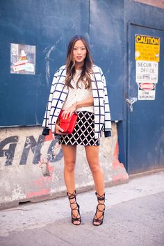 New York Fashion Week S/S 2014 Day One | Song of Style Giuseppe Zanotti heels, Celine Box Bag, Grid Pattern Jacket and skirt