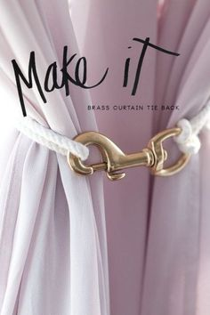 DIY Curtain Tie I need this for the master for that middle curtain that just is in the way this is genius! DIY Curtain Tie I need this for the master for that middle curtain that just is in the way this is genius! Diy Curtain Rods, Curtain Ties, Diy Curtains, Outdoor Patio Curtains, Curtain Tie Backs Diy, Pergola Curtains, Rope Curtain Tie Back, Sheer Curtains, Tie Back Curtains