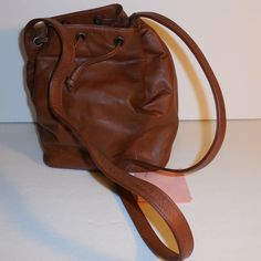 MUSI Draw String Feed-Bag Style Leather Handbag $80.00