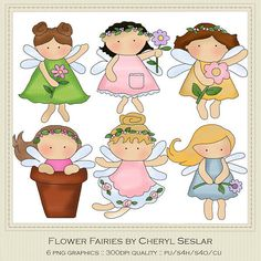 NEW Flower Fairies Clipart by Cheryl Seslar by marlodeedesigns on Etsy, $1.25