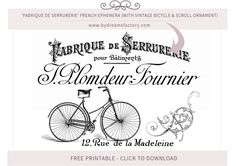 Fabrique de Serrurerie French ephemera (with vintage bicycle and scroll ornament) - French typography free download www.bydreamsfactory.com